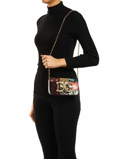 Dolce&Gabbana Dolce&Gabbana Colorblocked Desen Jakarlı Kadın Omuz Çantası 101618907 Renkli